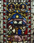 Nativity, 14th century German stained glass, Church of St Etienne, Mulhouse, France