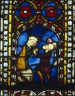 Jephthah sacrifices his daughter, 14th century German stained glass, Church of St Etienne, Mulhouse, France