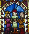 Marriage of Tobias and Sarah, 14th century German stained glass, Church of St Etienne, Mulhouse, France