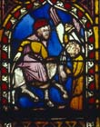 Balaam and the ass, 14th century German stained glass, Church of St Etienne, Mulhouse, France