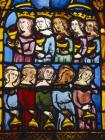 Parable of the wise and foolish virgins 14th century German stained glass panel, Church of St Etienne, Mulhouse, France