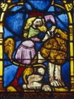 Samson and the lion, 14th century German stained glass, Church of St Etienne, Mulhouse, France
