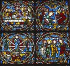 Four scenes from the Passion window, 12th century stained glass, west end, Chartres Cathedral, France