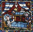 Nativity scene, Incarnation window, 12th century stained glass, Chartres Cathedral, France