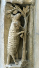 Chartres Cathedral, north porch, right bay, outer archivolt,  Zodiac sign, Aries, 13th century