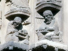 Pythagoras and Donatus, twelfth century, right archivolt, right bay, Royal Portal, Chartres Cathedral, France