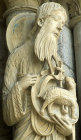 France, Chartres Cathedral, John the Baptist, north porch, centre bay, right jamb, 13th century architectural sculpture