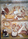 France, Saint-Savin sur Gartempe, Abbey of St Savin, the woman and  the dragon and the four horsementof  the Apocalypse, 11-12th century fresco in the narthex