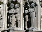 Chartres Cathedral South Porch central bay right archivolts demon and noblewoman demon and nun