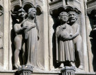 Chartres Cathedral, South Porch, central bay, right archivolts, demon and nun, demon and miser
