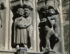 Chartres Cathedral, South Porch, central bay, the damned, devil and miser
