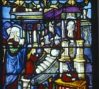 Presentation of Mary at the Temple in Jerusalem, 16th century stained glass, Notre Dame, Chalons-en-Champagne, formerly Chalons-sur-Marne, France