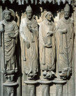 Chartres Cathedral, South Porch, right bay, right jamb Saints Martin,  Jerome,  Gregory, all 13th century St Avitus, 14th century
