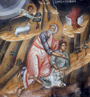 Abraham offering  Isaac for sacrifice 15th century mural in the Church of the Saviour at Paleochorio Cyprus