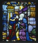 Joachim and Anna at the Golden Gate of Jerusalem, 16th century stained glass, Notre Dame, Chalons-en-Champagne, formerly Chalons-sur-Marne, France