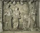 Adultress, sculpture 1682  by Jean de Dieu of Arles, east end of choir screen, Chartres Cathedral, France