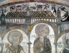 Saints Peter, James and Fulbert, detail of twelfth century wall painting in St Fulberts Crypt, Chartres cathedral, France