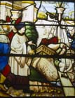 St Nicholas procures corn from the inhabitants of Alexandria, 16th century stained glass, Church of St-Florentin,  France