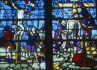 Crucifixion, 16th century stained glass, Notre Dame, Chalons-en-Champagne, formerly Chalons-sur-Marne, France