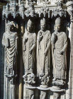 Mitred bishops, thirteenth century, left jamb, right bay, south porch, Chartres Cathedral, France