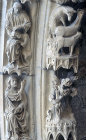 France, Chartres Cathedral, north porch, centre bay archivolt, Creation of Adam,13th century architectural sculpture