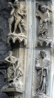 France, Chartres Cathedral, north porch, centre bay, outer arch, Adam and Eve, 13th century architectural sculpture