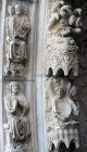 France, Chartres Cathedral, north porch, centre bay archivolt, Creation of Sun and Moon, 13th century architectural sculpture