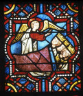 The Dream of the Magi, a panel in one of ten, 13th century window in the church at St Julien du Sault