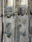Queen and a king of Judah, twelfth century, right jamb, central bay, Royal Portal, Chartres Cathedral, France