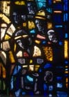 Prisoners of Conscience window,  Pilate, 1980 stained glass by Gabriel Loire, east window, Trinity Chapel, Salisbury Cathedral, Wiltshire, England, Great Britain