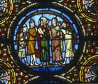 Blindness of the synagogue, 12th century stained glass, St Denis, Paris, France