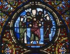 Christ crowning the church and the synagogue, 12th century stained glass, Chapel of St Philippe, St Denis, Paris, France
