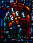 Prisoners of Conscience window, 1980 stained glass by Gabriel Loire, east window, Trinity Chapel, Salisbury Cathedral, Wiltshire, England, Great Britain