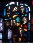 Salisbury Cathedral, Trinity Chapel, Prisoners of Conscience window by Gabriel Loire, lancet D, detail of panel 11, seven heads, Gabriel Loire