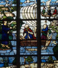 Jesus on the shore of Galilee and Apostles in boat, window in La Trinite at Vendome France 16th century