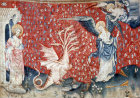 Vision of the woman and  the dragon, Angers Apocalypse tapestry, 1377-82, commissioned by Louis I duc d