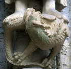 France, Chartres Cathedral, north porch, centre bay, dragon under the Baptist