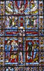 Crucifixion, 12th century stained glass, Poitiers Cathedral, France