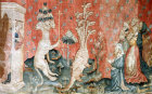 Beasts of the sea and homage of men, Angers Apocalypse tapestry, 1377-82, commissioned by Louis I duc d