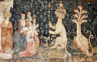 Adoration of the beast, Angers Apocalypse tapestry, 1377-82, commissioned by Louis I duc d