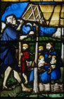 Adam building their house and Eve with Cain and Abel creation window St Florentin Church France 16th century