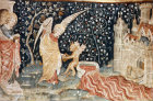 Angel harvesting vintage of the earth, Angers Apocalypse tapestry, 1377-82, commissioned by Louis I duc d