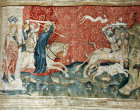 First battle of the end, Christ charging,  Angers Apocalypse tapestry, 1377-82, commissioned by Louis I duc d