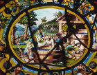 September, grape harvest, sixteenth century, one of the Labours of the Month, vitraux de Montigny, Rouen Museum, France