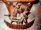 Misericord of  labour of month of March, pruning the vines, fifteenth century,  Church of La Trinite, Vendome, France
