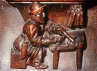 Misericord of candlemaker, fifteenth century, Church of La Trinite, Vendome, France