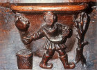 Misericord of  labour of month of March, sowing the seed, fifteenth century, Church of La Trinite, Vendome, France