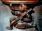 Misericord of labour of month of May, the hunter, fifteenth century, Church of La Trinite, Vendome, France