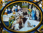 January, feasting, sixteenth century, one of the Labours of the Month,  vitraux de Montigny, Rouen Museum, France