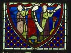 Three Jews blowing horns, 13th century stained glass, originally in La Sainte Chapelle, now in Rouen Museum, France